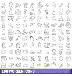 100 worker icons set outline style vector image