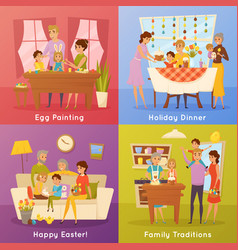 family easter concept 4 flat icons vector image