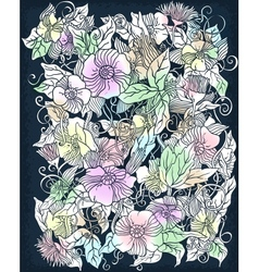 Floral background retro flowers and leaves vector
