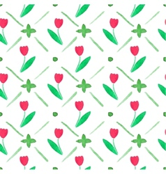 Seamless watercolor pattern with tulips on the vector
