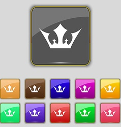 Crown icon sign set with eleven colored buttons vector