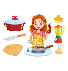 Woman cooking and kitchenwares vector