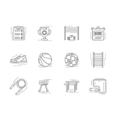 Linear icons set for physical education vector