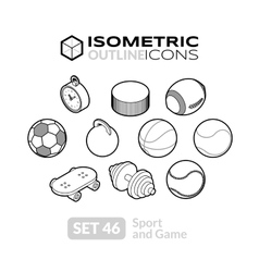 Isometric outline icons set 46 vector