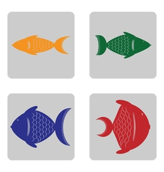 Monochrome icon set with fish vector