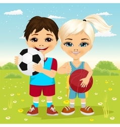 Children holding a soccer ball and basketball vector