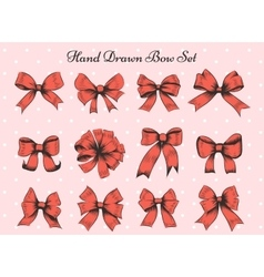 Hand drawn bow set vector