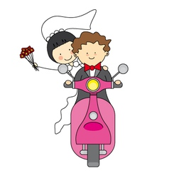 Just married by motorcycle vector