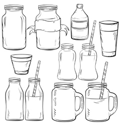 Glass bottles sketches set vector image