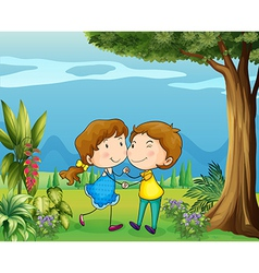 A girl and a boy dancing at the park vector image vector image