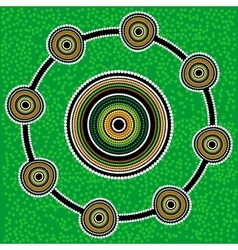 Aboriginal art background green vector