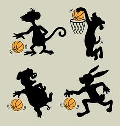 Animal Playing Basketball Silhouettes vector image vector image