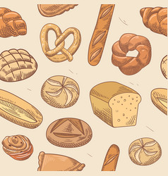 bakery hand drawn seamless pattern background vector image vector image