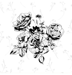 Black and White floral greeting card vector image