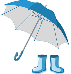 Blue rubber boots umbrella vector