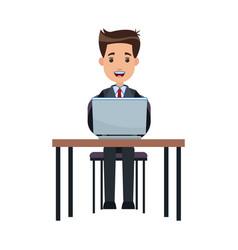 business man sitting working laptop desk vector image