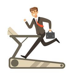 businessman running on a treadmill vector image