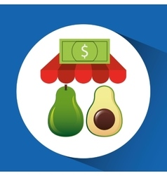 Buying online avocado icon vector