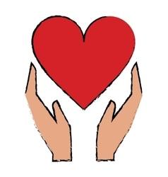 Cartoon hands holds heart love care vector