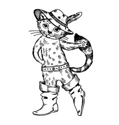 cat in boots engraving vector image vector image