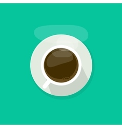 Coffee cup top view isolated on blue background vector image vector image