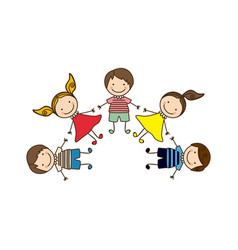 Colorful happy set cartoon children holding hands vector