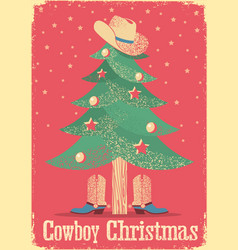 cowboy christmas card with tree and western vector image