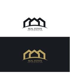 creative minimal real estate logo design concept vector image