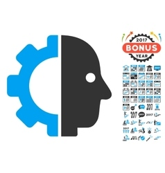 Cyborg head icon with 2017 year bonus pictograms vector