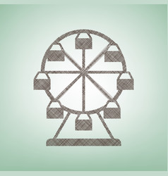 Ferris wheel sign brown flax icon on vector