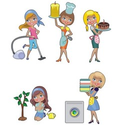 Five housewives vector