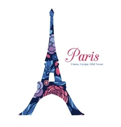 Floral Eifel Tower Paris On St Valentines vector image vector image