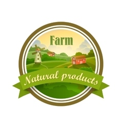 Green label of healthy natural farm fresh food vector image