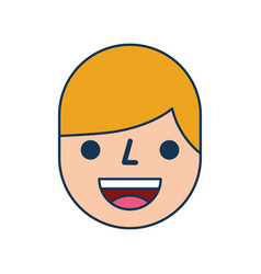 happy boy face expression facial character vector image