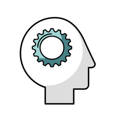 Human head profile with gear vector