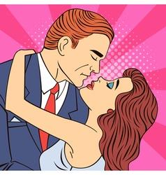Kissing couple man kissing a woman pop art banner vector