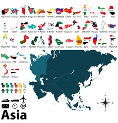 Maps with flags of Asia vector image vector image