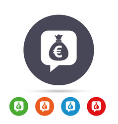 money bag sign icon euro eur currency vector image