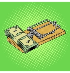 Mousetrap with money pop art style vector