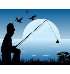 Night fishing vector