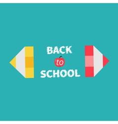 Pencils Back to school card Flat design vector image vector image