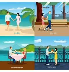 People fall in love flat set vector