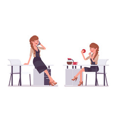 pretty female office employee chatting vector image vector image