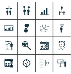 Set of 16 board icons includes opinion analysis vector