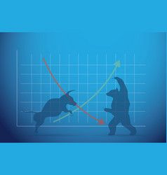 Silhouette bull and bear with financial graph vector