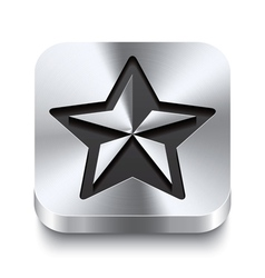 Square metal button - christmas star icon vector image