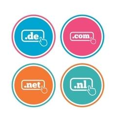 Top-level domains signs de com net and nl vector
