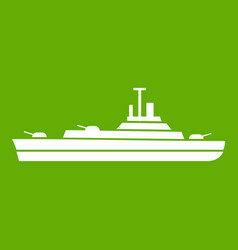warship icon green vector image vector image