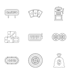 Win icons set outline style vector