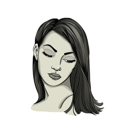 Portrait of a womanwith long hair vector